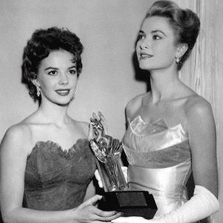 My mom and Grace Kelly accepting an award for James Dean in 1955.
