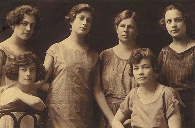 My grandma Maria seated on the left, her mother seated on the right, and her three sisters and german nanny standing behind. My grandparents were refugees who escaped the Russian Revolutionand emigrated to the USA via Harbin, China.