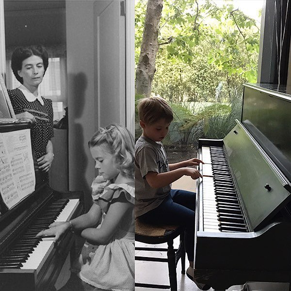 My mom learned to play piano on this very green piano in the 1940's. My daughter Clover is now learning to play on in 2017. #familyheirlooms⠀
