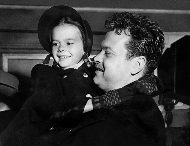 "An outtake from ""Tomorrow is Forever."" My mom and Orson Welles without the beard he wears in the film. 📽"